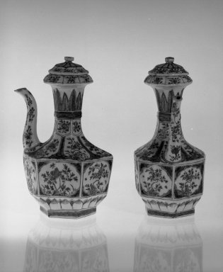 Junchi, One of Pair, 1662-1722. Porcelain with polychrome overglaze enamel (wucai) decoration, 9 1/4 x 5 3/8 in. (23.5 x 13.7 cm). Brooklyn Museum, Gift of the executors of the Estate of Colonel Michael Friedsam, 32.1191.1. Creative Commons-BY