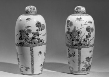 Jar with Cover, 1662-1772. Porcelain with polychrome overglaze enamel (wucai) decoration, 11 3/4 x 5 1/2 in. (29.9 x 13.9 cm). Brooklyn Museum, Gift of the executors of the Estate of Colonel Michael Friedsam, 32.1192.2a-b. Creative Commons-BY