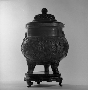 Tripod Censer with Cover and Stand, 1644-1911. Earthenware with three-color (sancai) glaze, 11 1/4 x 11 7/16 x 9 1/4 in. (28.6 x 29 x 23.5 cm). Brooklyn Museum, Gift of the executors of the Estate of Colonel Michael Friedsam, 32.1308a-c. Creative Commons-BY