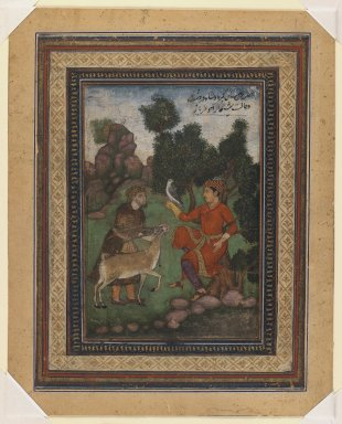 Indian. A Falconer and a Gamekeeper, ca. 1600. Opaque watercolor on paper, sheet: 8 11/16 x 7 in.  (22.1 x 17.8 cm). Brooklyn Museum, Gift of the executors of the Estate of Colonel Michael Friedsam, 32.1324