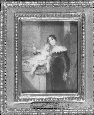 George Henry Harlow (British, 1787-1819). Mrs. Huelson and Child. Watercolor, 3 3/8 x 4 3/8 in.  (8.6 x 11.1 cm). Brooklyn Museum, Frederick Loeser Fund, 32.1576