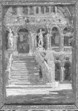 Emma Ciardi (Italian, 1879-1933). La Scala dei Giganti, 1911. Oil on beaver board, 14 x 11 1/2 in. (35.6 x 29.2 cm). Brooklyn Museum, Gift of the Estate of Emil Fuchs, 32.1759