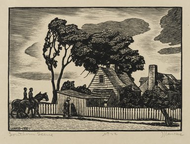 J.J. Lankes (American, 1884-1960). Southern Scene, 1932. Woodcut, cream colored wove paper, 5 1/8 x 7 3/16 in. (13 x 18.2 cm). Brooklyn Museum, Gift of members of the Woodcut Society, 32.180. © Estates of Julius J. Lankes