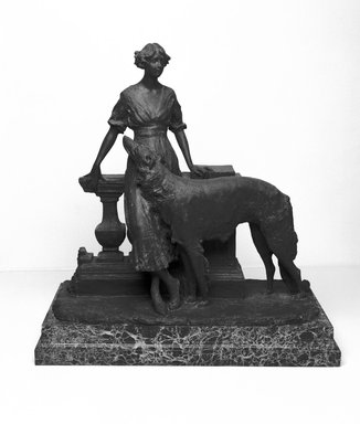 Emil Fuchs (American, 1866-1929). Girl and Dog, 1913. Bronze and marble base, 23 5/8 x 22 5/8 x 12 1/16 in., 140 lb. (60 x 57.5 x 30.6 cm, 63.5kg). Brooklyn Museum, Gift of the Estate of Emil Fuchs, 32.2092.20. Creative Commons-BY