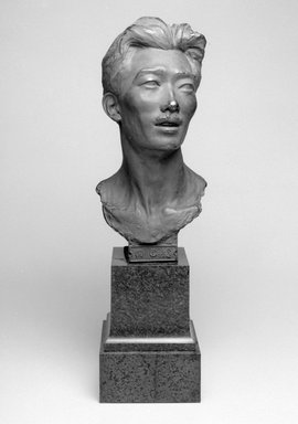Emil Fuchs (American, 1866-1929). Japanese Gentleman, 1913. Bronze, marble, 29 3/8 x 8 7/8 x 10 in. (74.6 x 22.5 x 25.4 cm). Brooklyn Museum, Gift of the Estate of Emil Fuchs, 32.2092.21. Creative Commons-BY