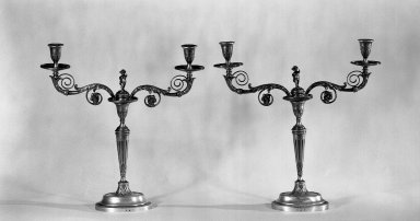 Pair of Sheffield Candlesticks, ca. 1800. Silver, 16 3/4 x 16 1/2 in. (42.5 x 41.9 cm). Brooklyn Museum, Gift of Mrs. David Boe, 32.32a-b. Creative Commons-BY