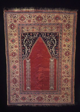 Prayer Carpet, 18th century. Wool, Old: 62 1/2 x 44 1/2 in. (158.8 x 113 cm). Brooklyn Museum, Gift of the executors of the Estate of Colonel Michael Friedsam, 32.546. Creative Commons-BY