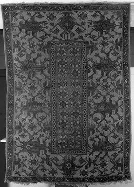 Holbein-derivative Carpet, 19th century. Wool, Old Dims: 84 x 60 in. (213.4 x 152.4 cm). Brooklyn Museum, Gift of the executors of the Estate of Colonel Michael Friedsam, 32.548. Creative Commons-BY