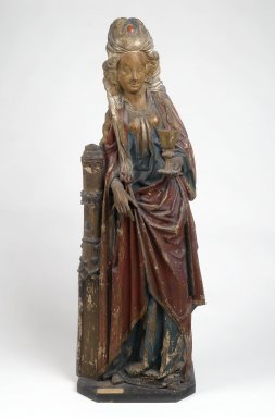 Saint Barbara, late 15th century. Wood with polychromy, with base: 57 x 18 1/2 x 12 1/4 in. (144.8 x 47 x 31.1 cm). Brooklyn Museum, Gift of the executors of the Estate of Colonel Michael Friedsam, 32.665. Creative Commons-BY