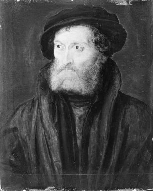 Corneille de Lyon (Dutch,1500/10-1575, active in France). Portrait of a Man, said to be Théodore de Bèze. Tempera on panel, 7 x 4 1/2 in.  (17.8 x 11.4 cm). Brooklyn Museum, Gift of the executors of the Estate of Colonel Michael Friedsam, 32.775
