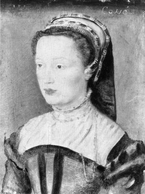 Corneille de Lyon (Dutch,1500/10 - 1575, active in France). Portrait of Mlle. de Cosse, late 1540s-1560s. Tempera on panel, 6 1/2 x 5 1/8 in.  (16.5 x 13.0 cm). Brooklyn Museum, Gift of the executors of the Estate of Colonel Michael Friedsam, 32.778