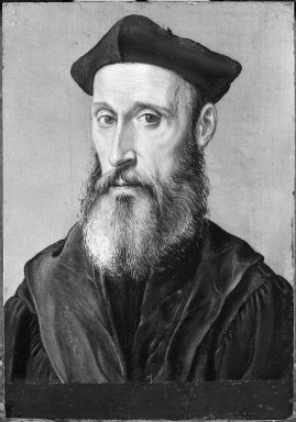 Corneille de Lyon (Dutch,1500/10 - 1575, active in France). Portrait of a Man in Black Costume. Tempera on panel, 8 1/2 x 5 7/8 in.  (21.6 x 14.9 cm). Brooklyn Museum, Gift of the executors of the Estate of Colonel Michael Friedsam, 32.781