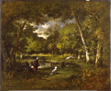 Narcisse-Virgile Diaz de la Peña (French, 1807-1876). The Pond at Fontainebleau (La Mare Fontainebleau), 1875. Oil on panel, 17 7/8 x 21 15/16 in. (45.4 x 55.7 cm). Brooklyn Museum, Gift of the executors of the Estate of Colonel Michael Friedsam, 32.792
