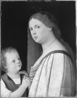 after Vincenzo di Biagio Catena (Italian, Venetian, 1470/80-1531). Woman and Child, early 1500s. Oil on panel, 18 1/2 x 14 1/2 in.  (47.0 x 36.8 cm). Brooklyn Museum, Gift of the executors of the Estate of Colonel Michael Friedsam, 32.798