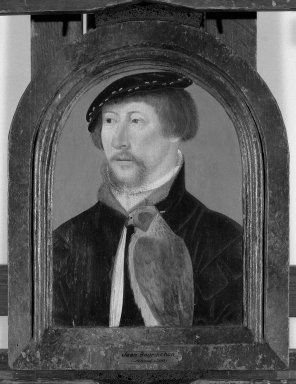 French School. Portrait of Man With a Falcon, 1525-1550., Frame: 13 x 10 1/2 in. (33 x 26.7 cm). Brooklyn Museum, Gift of the executors of the Estate of Colonel Michael Friedsam, 32.800