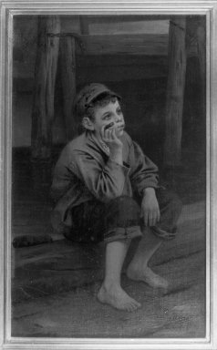 John George Brown (American, born England, 1831-1913). Seated Boy Smoking a Cigar, 1867. Oil on canvas, 11 3/4 x 6 15/16 in. (29.9 x 17.7 cm). Brooklyn Museum, Gift of the executors of the Estate of Colonel Michael Friedsam, 32.801