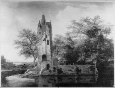 Meindert Hobbema (Dutch, 1638-1709). Ruins of the Chateau Kostverloren. Oil on panel, 15 7/8 x 20 7/8 in.  (40.3 x 53.0 cm). Brooklyn Museum, Gift of the executors of the Estate of Colonel Michael Friedsam, 32.822