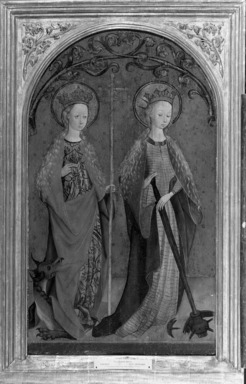 School of Cologne. Saints Margaret and Catherine, ca. 1460-1480. Oil on linen mounted on panel, 30 1/4 x 18 in. (76.8 x 45.7 cm). Brooklyn Museum, Gift of the executors of the Estate of Colonel Michael Friedsam, 32.823