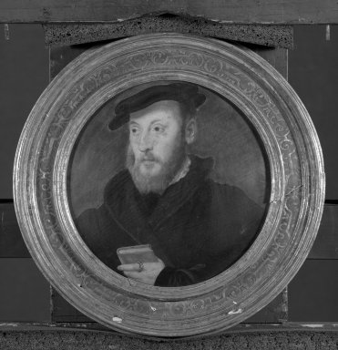 Unknown. Portrait of a Man with a Red Prayer Book, 1555. Tempera on panel, 7 3/4 in.  (19.7 cm) (diameter). Brooklyn Museum, Gift of the executors of the Estate of Colonel Michael Friedsam, 32.824
