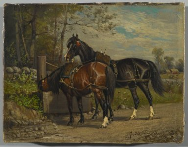 Nicholas Winfield Scott Leighton (American, 1847-1898). Two Horses at a Wayside Trough, 1883. Oil on canvas, 7 x 9 1/8 in. (17.8 x 23.2 cm). Brooklyn Museum, Gift of the executors of the Estate of Colonel Michael Friedsam, 32.834