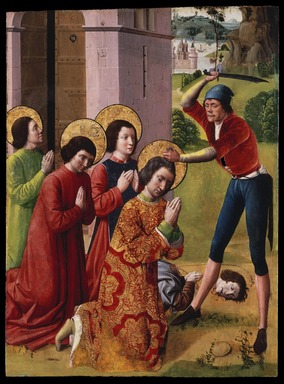 Northern French. Martyrdom of Saints Cosmas and Damian with their Three Brothers, part of an altarpiece, 1480s or 1490s. Oil on panel, 36 3/8 x 27 in. (92.4 x 68.6 cm). Brooklyn Museum, Gift of the executors of the Estate of Colonel Michael Friedsam, 32.840