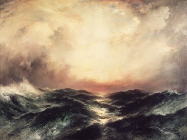 Thomas Moran (American, 1837-1926). Sunset at Sea, 1906. Oil on canvas, 30 3/16 x 40 3/16 in. (76.7 x 102.1 cm). Brooklyn Museum, Gift of the executors of the Estate of Colonel Michael Friedsam, 32.845