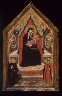 Italian, Aretine School. Virgin and Child Enthroned with Saints Benedict and Donato (?) and Four Angels, 1320-1330. Tempera and tooled gold on panel in an original engaged frame, 20 x 12 x 2 in. (50.8 x 30.5 x 5.1 cm). Brooklyn Museum, Gift of the executors of the Estate of Colonel Michael Friedsam, 32.856c