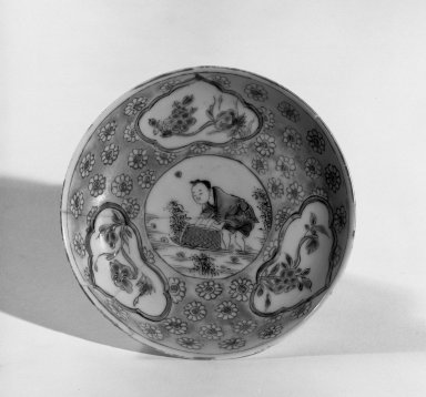 Cup and Saucer, 1723-1735. Porcelain with famille rose decoration, A: 1 1/4 x 2 3/4 in. (3.2 x 7 cm). Brooklyn Museum, Gift of the executors of the Estate of Colonel Michael Friedsam, 32.971. Creative Commons-BY