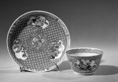 Cup and Saucer, 1723-1735. Porcelain with famille rose decoration, A: 1 1/2 x 2 3/4 in. (3.8 x 7 cm). Brooklyn Museum, Gift of the executors of the Estate of Colonel Michael Friedsam, 32.973a-b. Creative Commons-BY