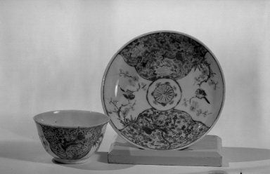 Cup and Saucer, 1723-1735. Porcelain with famille rose decoration, a: 1 9/16 x 2 3/4 in. (3.9 x 7 cm). Brooklyn Museum, Gift of the executors of the Estate of Colonel Michael Friedsam, 32.975a-b. Creative Commons-BY