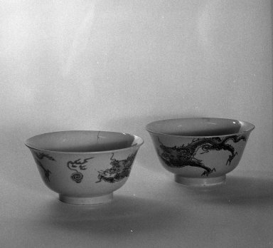 Pair of Bowls, 1662-1722. Porcelain with overglaze enamels, A: 2 7/8 x 5 11/16 in. (7.3 x 14.5 cm). Brooklyn Museum, Gift of the executors of the Estate of Colonel Michael Friedsam, 32.976a-b. Creative Commons-BY