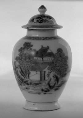 Jar with Cover, 1662-1722. Slow-fired porcelain with cobalt-blue underglaze decoration, a: 3 11/16 x 2 3/4 in. (9.4 x 7 cm). Brooklyn Museum, Gift of the executors of the Estate of Colonel Michael Friedsam, 32.977a-b. Creative Commons-BY