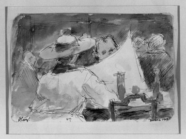 David Caz-Delbo. In the Cafe, 1903. Watercolor, 4 5/16 x 6 1/2 in.  (11.0 x 16.5 cm). Brooklyn Museum, Gift of Mrs. Milton Horn, 33.140