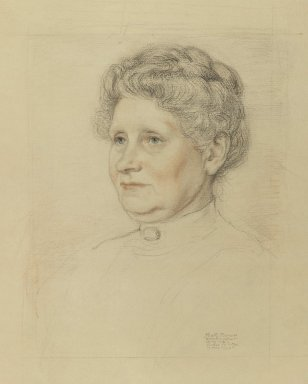 Albert Sterner (American, 1863-1946). Portrait of Mrs. Henry Walther, April 1913. Graphite and colored chalk (Sanguine) on paper, sheet: 17 7/8 x 14 3/8 in. (45.4 x 36.5 cm). Brooklyn Museum, Gift of Marie Sterner Lintott, 33.148
