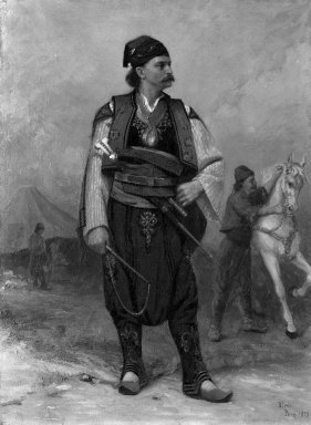 Benoni Irwin (Canadian, 1840-1896). Bulgarian Chief, 1879. Oil on canvas, 32 x 23 1/2 in.  (81.3 x 59.7 cm). Brooklyn Museum, Bequest of Mrs. J. C. Shaw in memory of her father, Dr. Charles D. Cook, 33.184