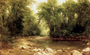 Asher B. Durand (American, 1796-1886). Landscape, 1867. Oil on canvas, 15 1/16 x 24 1/16 in. (38.2 x 61.1 cm). Brooklyn Museum, Gift of Mrs. William Woodward Phelps, 33.218