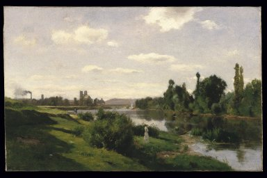 Charles-François Daubigny (French, 1817-1878). The River Seine at Mantes, ca. 1856. Oil on canvas, 19 1/16 x 29 3/4 in. (48.4 x 75.6 cm). Brooklyn Museum, Gift of Cornelia E. and Jennie A. Donnellon, 33.271