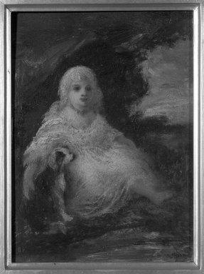 Narcisse-Virgile Diaz de la Peña (French, 1807-1876). Child and Dog. Oil on panel, 7 11/16 x 5 7/8 in.  (19.5 x 14.9 cm). Brooklyn Museum, Gift of Cornelia E. and Jennie A. Donnellon, 33.276
