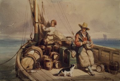 Auguste Delacroix (French, 1809-1868). Two Figures on a Boat, 1843. Watercolor on wove paper, 5 5/16 x 8 in. (13.5 x 20.3 cm). Brooklyn Museum, Gift of Cornelia E. and Jennie A. Donnellon, 33.280