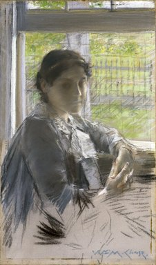 William Merritt Chase (American, 1849-1916). At the Window, ca. 1889. Pastel on hand-applied gray ground, on commercially pre-printed canvas attached to a wooden stretcher, 18 3/8 x 10 7/8 in. (46.7 x 27.6 cm). Brooklyn Museum, Gift of Mrs. Henry Wolf, Austin M. Wolf, and Hamilton A. Wolf, 33.28