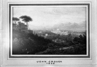 John Crouch (English, 1830-1850). Roman Landscape. Watercolor on paper, 3 1/8 x 5 in.  (7.9 x 12.7 cm). Brooklyn Museum, Carll H. de Silver Fund, 33.298