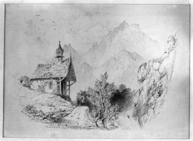 John Ruskin (British, 1819-1900). Saint Gothard Pass, Near Amsteg, 1835. Ink on paper, 10 5/8 x 14 5/8 in. (27 x 37.1 cm). Brooklyn Museum, Frederick Loeser Fund, 33.300