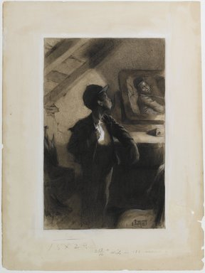 "Edward Henry Potthast (American, 1857-1927). Illustration for ""George Washington Jones: A Christmas Gift That Went A-Begging,"" 1903. Watercolor, charcoal and white crayon on cream, medium-weight, slightly textured wove paper., Sheet: 19 3/4 x 14 13/16 in. (50.2 x 37.6 cm). Brooklyn Museum, Peter F. Schofield Fund, 33.392"