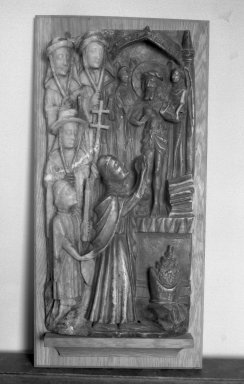 English. Communion of Saint Gregory, 15th century. Alabaster, 26 x 13 x 3 3/4 in. (66 x 33 x 9.5 cm). Brooklyn Museum, Charles Stewart Smith Memorial Fund, 33.393. Creative Commons-BY