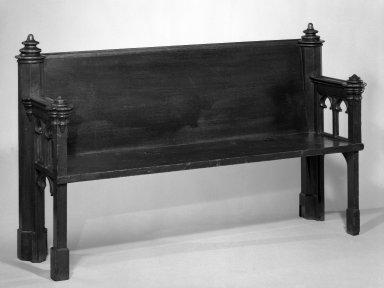 Pew, 1844-1847. Stained oak Brooklyn Museum, Gift of Mrs. Walton Livingston Oakley, Jr., 33.397.1. Creative Commons-BY