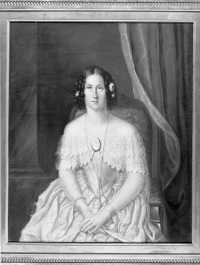 Charles Backofen (American, born circa 1801, active in New York, 1850-1860). Mrs. Joseph Kelly, 1850. Oil on canvas, 41 9/16 x 35 3/16 in. (105.5 x 89.3 cm). Brooklyn Museum, Gift of Virginia E. Clarke, 33.4.3