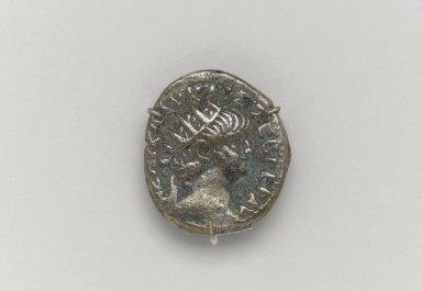 Greek or Roman. Denarius of Emperor Nero, 64 C.E. Silver, 1 1/8 x 11/16 x 1/8 n. (2.9 x 1.7 x 0.3 cm). Brooklyn Museum, Charles Edwin Wilbour Fund, 33.417.7. Creative Commons-BY