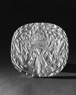 Cocle. Plaque with Crocodile Deity, ca. 700-900. Gold, 8 1/2 x 9 in. (21.6 x 22.9 cm). Brooklyn Museum, Museum Expedition 1931, Museum Collection Fund, 33.448.12. Creative Commons-BY