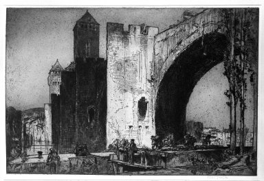 Frank Brangwyn (British, 1867-1956). The Valentré Bridge, Cahors, 1911. Etching on wove paper, 21 5/16 x 31 7/8 in. (54.1 x 81 cm). Brooklyn Museum, Gift of Mrs. Laurent Oppenheimer, 33.454