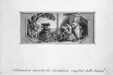 Edward Francis Burney (British, 1760-1848). Callimachus Invents the Corinthian Capital. Pen and ink in sepia wash on wove paper, 3 1/8 x 4 1/2 in. (8 x 11.5 cm). Brooklyn Museum, Gift of Spencer Bickerton, 33.464DUP1